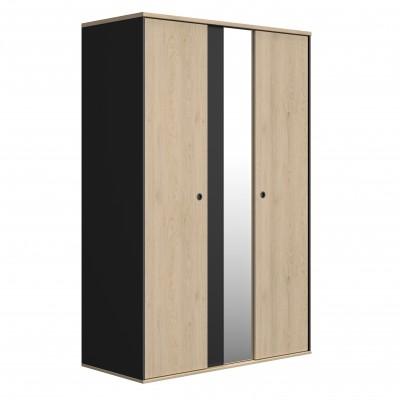 Duplex Ντουλάπα με 2 πόρτες και καθρέφτη 130x61x200εκ. Black/Natural Chestnut