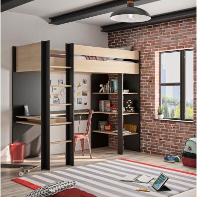 Duplex Mezzanine Κρεβάτι μονό ψηλό με γραφείο & βιβλιοθήκη 210x109x192εκ. Black - Natural