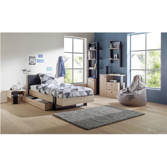 Duplex Κρεβάτι Μονό 100x204εκ. ( για στρώμα 90x200εκ.) με αποθηκευτικό συρτάρι Black/Natural  ΞΥΛΙΝΑ ΚΡΕΒΑΤΙΑ, insidehome.gr