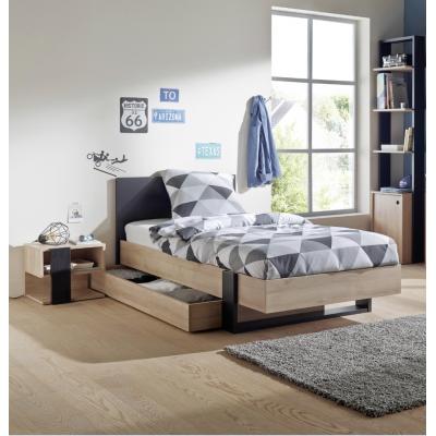 Duplex Κρεβάτι Μονό με αποθηκευτικό συρτάρι 100x204εκ. ( για στρώμα 90x200εκ.) Black/Natural Chestnut