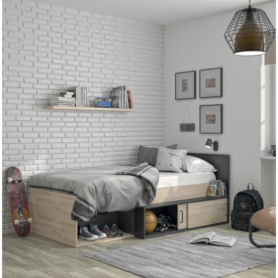 Erquy κρεβάτι μονό με αποθηκευτικό χώρο 204x110εκ. ( για στρώμα 90x200εκ. ) Light Kronberg Oak/Black με ανατομικό πλαίσιο