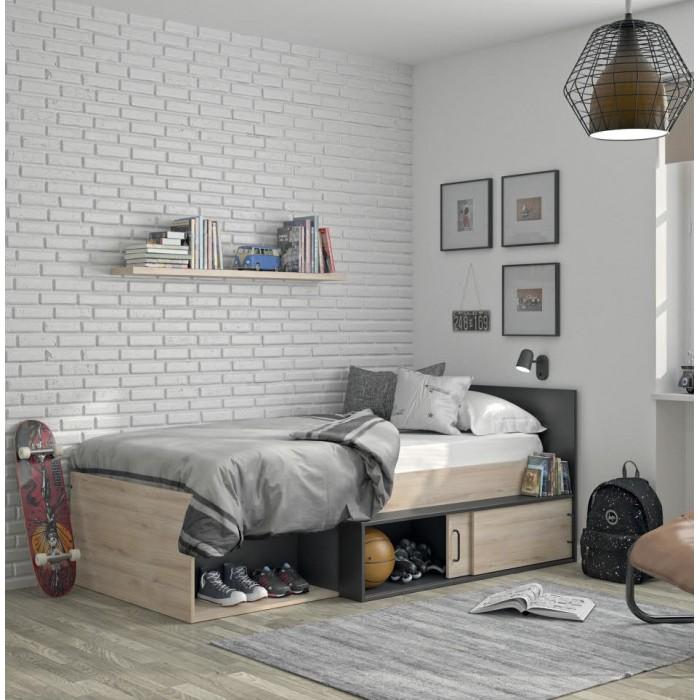 Erquy κρεβάτι μονό με αποθηκευτικό χώρο 204x110εκ. ( για στρώμα 90x200εκ. ) Light Oak/Black  ΠΑΙΔΙΚΑ-ΕΦΗΒΙΚΑ ΚΡΕΒΑΤΙΑ , insidehome.gr