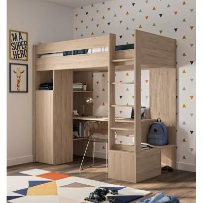 Ethan Πολυμορφικό υπερυψωμένο κρεβάτι με σκάλα, γραφείο & ντουλάπα 208x107x193εκ. ( για στρώμα 90x200εκ. )  Light Kronberg Oak
