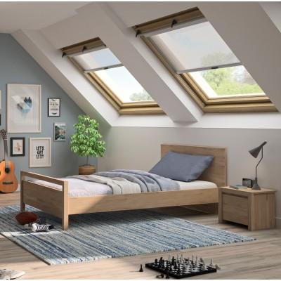 Ethan κρεβάτι μονό 98x207εκ. ( για στρώμα 90x200εκ. )  Light Kronberg Oak με ανατομικό πλαίσιο