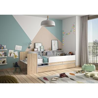 Ewen Κρεβάτι πολυμορφικό μετατρεπόμενο 110x244/259x79εκ. ( για στρώμα 90x140/200εκ. )  με αποθηκευτικούς χώρους και γραφείο Blond Oak / Λευκό
