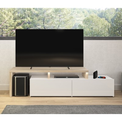Fizz πολυμορφικό έπιπλο τηλεόρασης με led 150x40/136x46εκ. Light Kronberg Oak/White