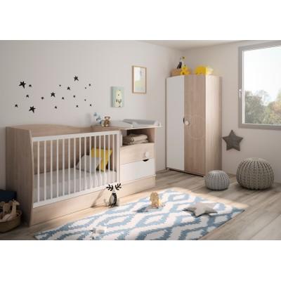 Oscar πολυμορφικό βρεφικό κρεβάτι 60x120εκ.  με αλλαξιέρα Blond Oak / White μετατρεπόμενο σε μονό κρεβάτι & συρταριέρα