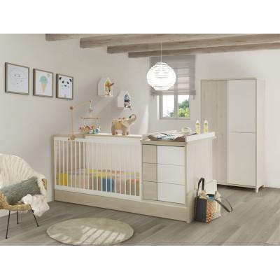 Sacha Πολυμορφικό Βρεφικό Κρεβάτι 70x140εκ. με αλλαξιέρα Whitewashed Pine μετατρεπόμενο σε μονό κρεβάτι, συρταριέρα, γραφείο & βιβλιοθήκη