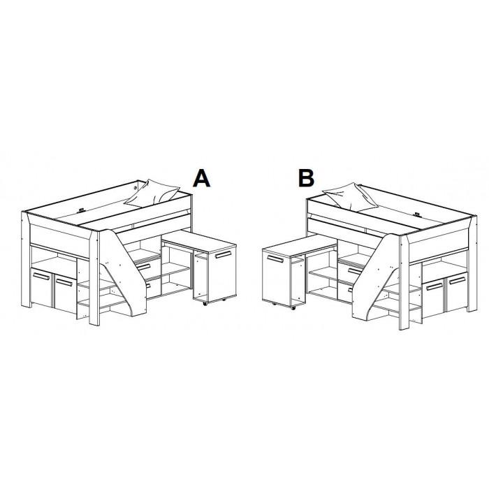 Παιδικα κρεβατια - Hangun πολυμορφικό υπερυψωμένο κρεβάτι με σκάλα, γραφείο,ντουλάπια Charcoal Oak