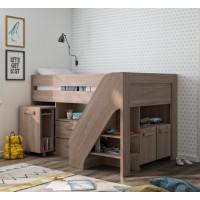 Hangun πολυμορφικό υπερυψωμένο κρεβάτι με σκάλα, συρόμενο γραφείο,ντουλάπια Charcoal Oak 207x135/206x122εκ. ( για στρώμα 90x200εκ. )