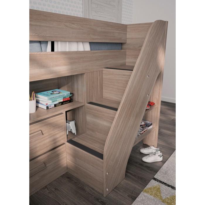 Hangun πολυμορφικό υπερυψωμένο κρεβάτι με σκάλα, γραφείο,ντουλάπια Charcoal Oak  ΠΑΙΔΙΚΑ ΚΡΕΒΑΤΙΑ , insidehome.gr