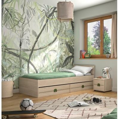 Indiana Κρεβάτι μονό 95x204εκ. ( για στρώμα 90x200εκ. ) με αποθηκευτικό συρτάρι & ανατομικό πλαίσιο Ανοιχτό Δρυς