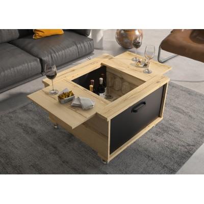 Jenny τραπεζάκι σαλονιού με αποθηκευτικό χώρο και ροδάκια 72x70x50εκ. Helvezia Oak