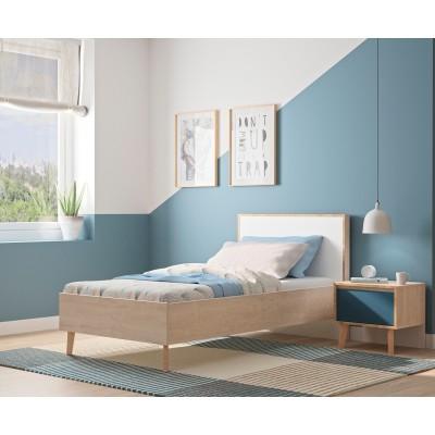 Larvik Κρεβάτι ημίδιπλο 128x208x93εκ. ( για στρώμα 120x200εκ. ) Blond Oak / White με ανατομικό πλαίσιο