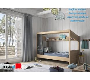 Luce Παιδικό κρεβάτι με στρώμα 90x200εκ. Lazzzy της Candia με memory foam & ανατομικό πλαίσιο