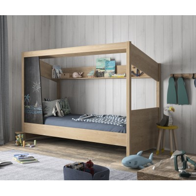Luce Παιδικό Κρεβάτι 98x207εκ. ( για στρώμα 90x200εκ.) Natural Chestnut με μαυροπίνακα & ανατομικό πλαίσιο
