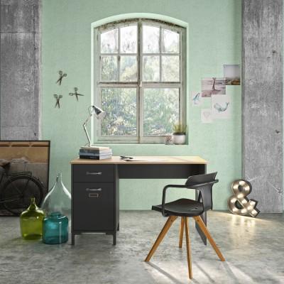 Manchester Γραφείο με 1 ντουλάπι και 1 συρτάρι 120x55εκ. Helvezia Oak/Black