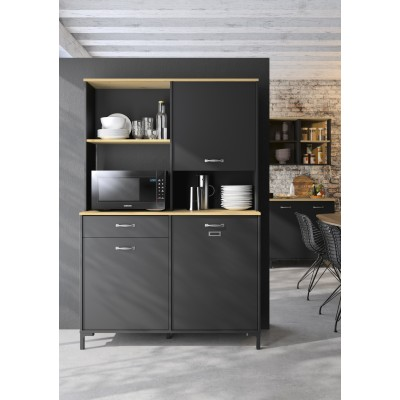 Manchester μπουφές για κουζίνα 119x41x180εκ. Helvezia Oak / Black