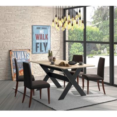 Medoc Σετ τραπέζι 160x90εκ. με 4 καρέκλες Ava Vintage Καφέ