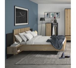 Mimizan Κρεβάτι με δύο κρεμαστά κομοδίνα  235x206εκ. ( για στρώμα 140x200εκ. ) Helvezia Oak / Black με ανατομικό πλαίσιο