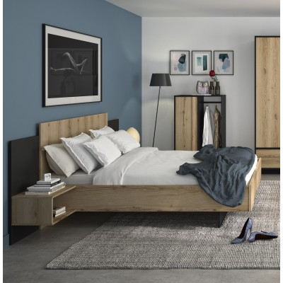 Mimizan Κρεβάτι με δύο κρεμαστά κομοδίνα  255x206εκ. ( για στρώμα 160x200εκ. ) Helvezia Oak / Black με ανατομικό πλαίσιο