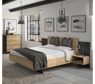 Mimizan Κρεβάτι με δύο κρεμαστά κομοδίνα και δύο μαξιλάρες στο κεφαλάρι 235x206εκ. ( για στρώμα 140x200εκ. ) Helvezia Oak / Black με ανατομικό πλαίσιο