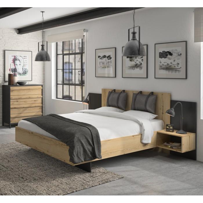 Mimizan Κρεβάτι με δύο κρεμαστά κομοδίνα 255x206εκ. ( για στρώμα 160x200εκ. ) Helvezia Oak / Black