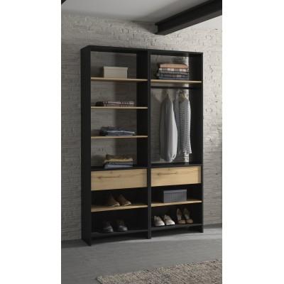 Mimizan Ανοιχτή ντουλάπα 126x45x213εκ. Helvezia Oak / Black