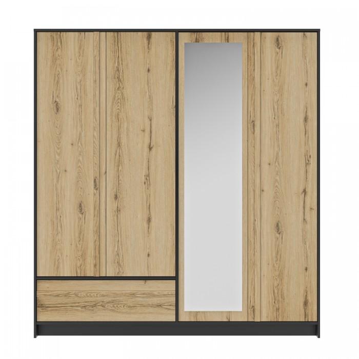 Mimizan Ντουλάπα με 4 πόρτες , 1 συρτάρι και καθρέφτη  197x60x213εκ. Helvezia Oak/Black