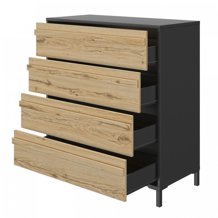 Mimizan Συρταριέρα με 4 συρτάρια 94x45x104εκ. Helvezia Oak/Black