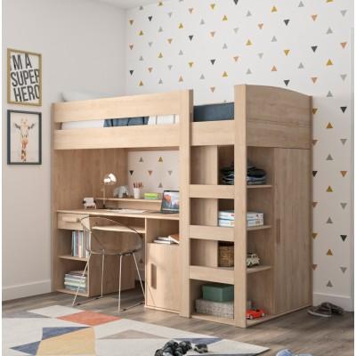 Montana πολυμορφικό υπερυψωμένο κρεβάτι με σκάλα, γραφείο,βιβλιοθήκη & ντουλάπα 205x98x171εκ. Blond Oak