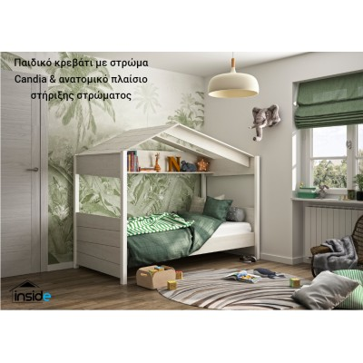 "Nairobi Παιδικό Κρεβάτι ""Καλύβα"" whitewashed chestnut με στρώμα 90x200εκ. Perfect της Candia & ανατομικό πλαίσιο στήριξης στρώματος"
