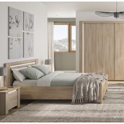 Oleron κρεβάτι διπλό 168 x 197 x 87εκ. ( για στρώμα 140x190εκ. ) Light Kronberg Oak / White με ανατομικό πλαίσιο