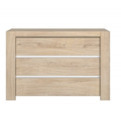 Oleron συρταριέρα με τρία συρτάρια 120 x 46 x 80 εκ. Light Kronberg Oak / White