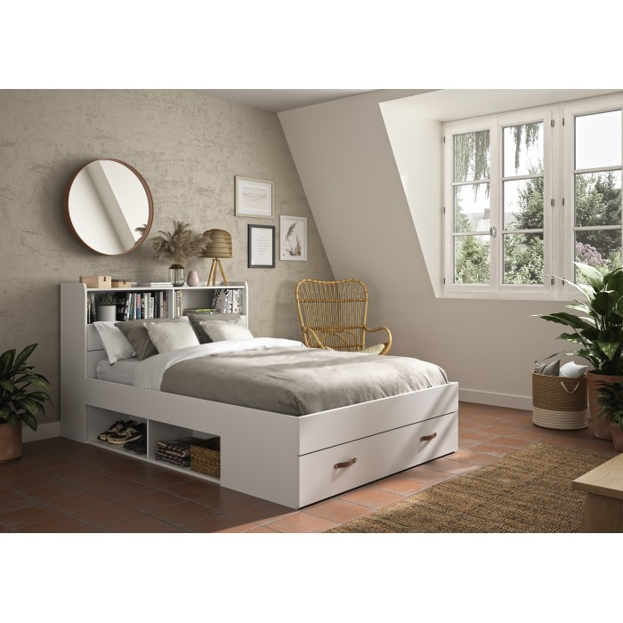 Sabia κρεβάτι διπλό με αποθηκευτικούς χώρους, βιβλιοθήκη στο κεφαλάρι και ανατομικό πλαίσιο 145x224x105εκ ( για στρώμα 140x190εκ. ) Λευκό
