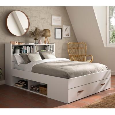 Sabia κρεβάτι διπλό με αποθηκευτικούς χώρους, βιβλιοθήκη στο κεφαλάρι 145x224x105εκ ( για στρώμα 140x190εκ. ) Λευκό με ανατομικό πλαίσιο