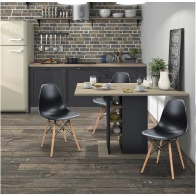 Oxford Σετ τραπέζι με αποθηκευτικό 120x80x75εκ. με 4 καρέκλες Eiffel Black