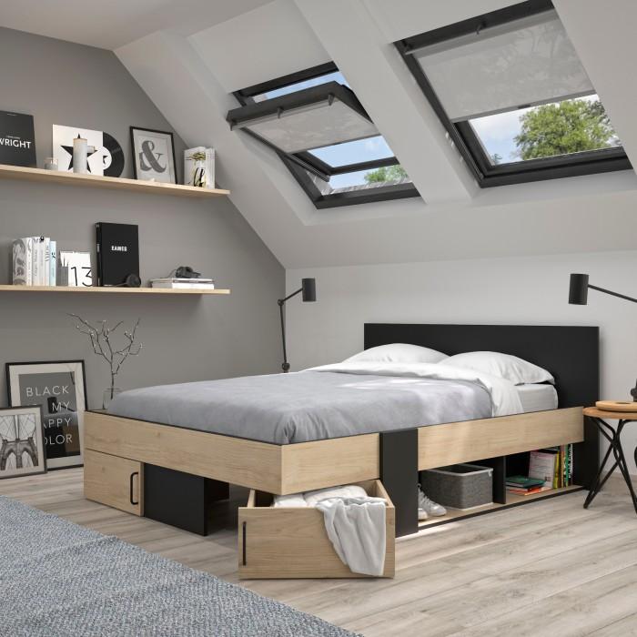 Swivel Κρεβάτι διπλό με αποθηκευτικούς χώρους 180x204εκ. ( για στρώμα 160x200εκ. ) Natural Chestnut/Black με ανατομικό πλαίσιο