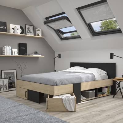 Swivel Κρεβάτι διπλό με αποθηκευτικούς χώρους 160x194εκ. ( για στρώμα 140x190εκ. ) Natural Chestnut/Black με ανατομικό πλαίσιο