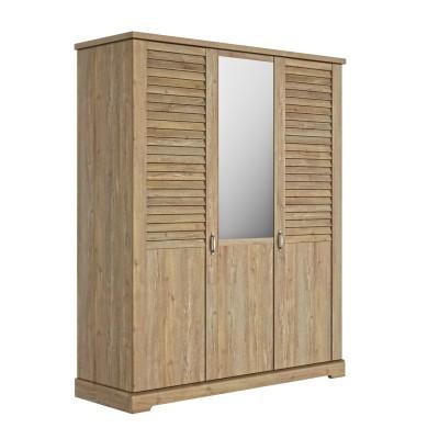 "Thelma Ντουλάπα με 3 πόρτες και καθρέφτη 170x60x208εκ. με περσίδες τύπου ""Λούβρου"" Ceruse Chestnut"