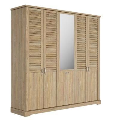 "Thelma Ντουλάπα με 5 πόρτες και καθρέφτη 230x60x228εκ. με περσίδες τύπου ""Λούβρου"" Ceruse Chestnut"