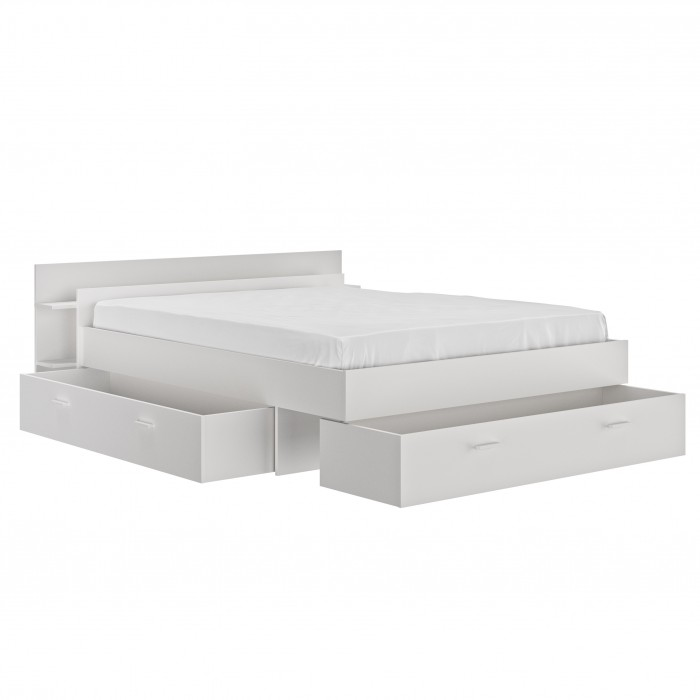 Tonight Κρεβάτι διπλό με αποθηκευτικούς χώρους 191x221εκ. ( για στρώμα 160x200εκ. )  Λευκό με ανατομικό πλαίσιο