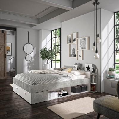 Tonight Κρεβάτι διπλό με αποθηκευτικούς χώρους 171x211εκ. ( για στρώμα 140x190εκ. )  Λευκό / Beton με ανατομικό πλαίσιο