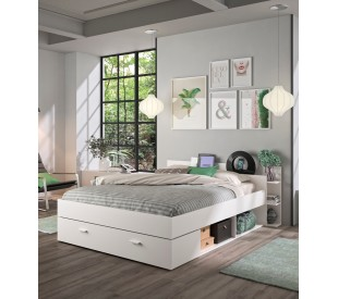 Tonight Κρεβάτι διπλό με αποθηκευτικούς χώρους 171x211εκ. ( για στρώμα 140x190εκ. )  Λευκό με ανατομικό πλαίσιο