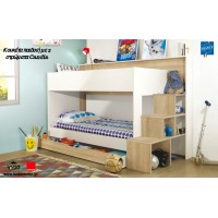 Teotea Κουκέτα παιδική με 2 στρώματα Candia,  σκάλα-βιβλιοθήκη & αποθηκευτικό συρτάρι 244x111x158εκ. Sonoma / White