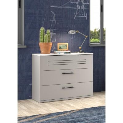 Ugo συρταριέρα με 3 συρτάρια 85x45x73εκ. Moon Grey-White