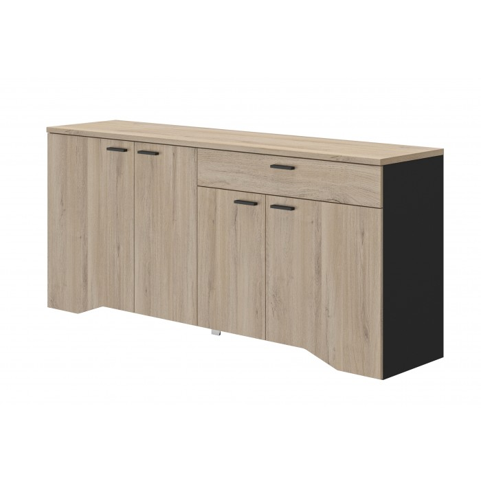 Yori Μπουφές με 4 πόρτες και 1 συρτάρι 186x45x84εκ. Light Kronberg Oak / Black