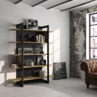 Russel Βιβλιοθήκη 136x44x180εκ. Helvezia Oak/Black