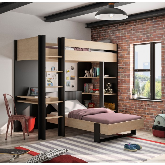 Duplex Κουκέτα ψηλή με 2 μονά κρεβάτια , γραφείο & βιβλιοθήκη Black/Natural 210x226x192εκ.
