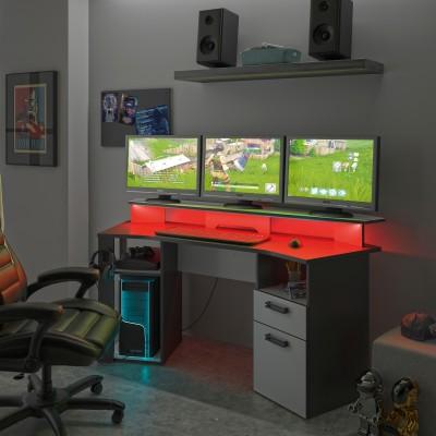 Invaders Γραφείο Gaming 170x67x88εκ.  Ανθρακί - Λευκό